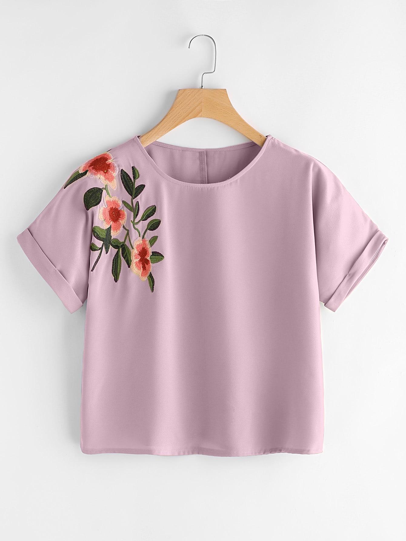 Фото Flower Embroidered Cuffed Sleeve Top. Купить с доставкой
