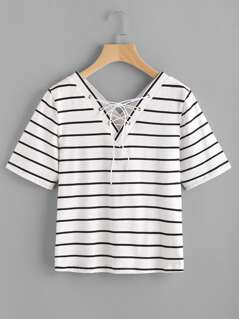 Double V Neck Eyelet Lace Up Striped Tee