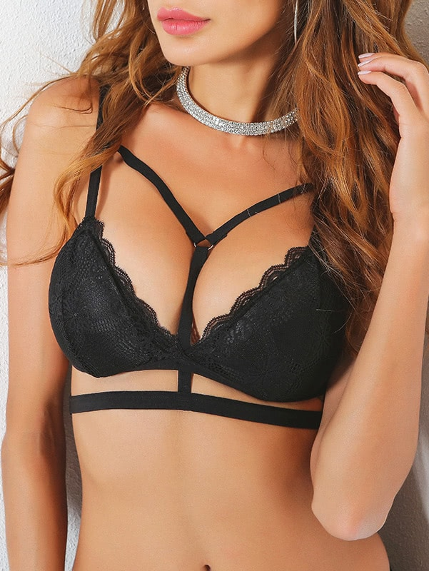 Strappy Scallop Trim O-Ring Detail Lace Bra