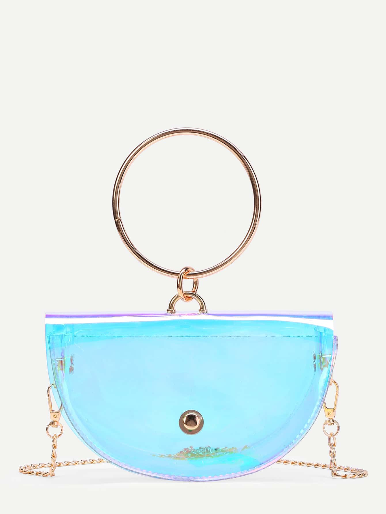 Semi-round Clear Crossbody Bag With Ring Handle