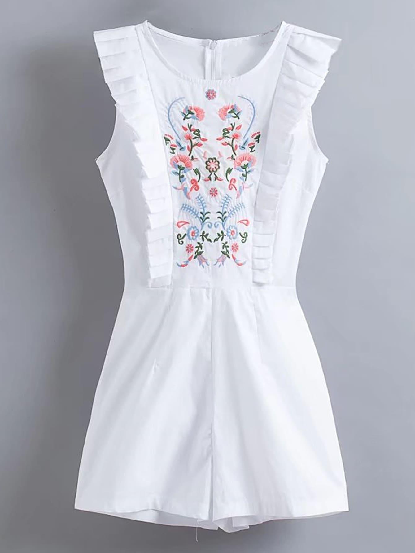 Фото Flower Embroidery Frill Trim Playsuit. Купить с доставкой