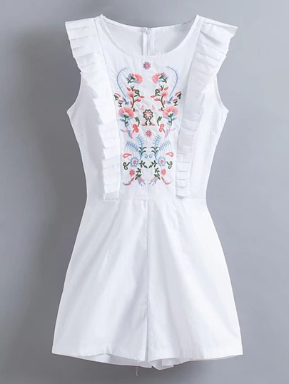 Flower Embroidery Frill Trim Playsuit