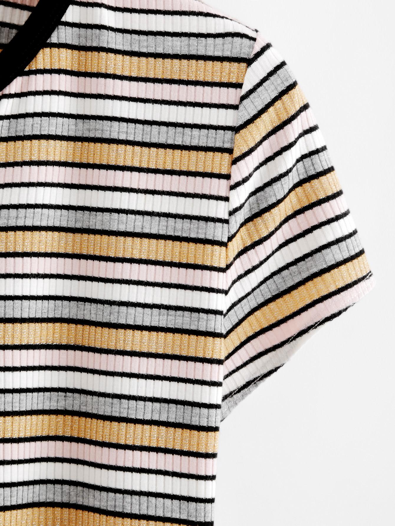 Contrast Neck Rib Knit Crop Striped Tee