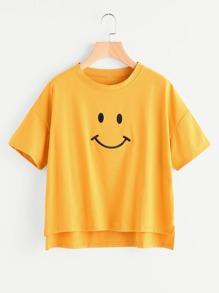 Dip Hem Smile Print Tee