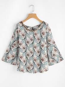 Random Florals V Back Tie Detail Chain Embellished Blouse