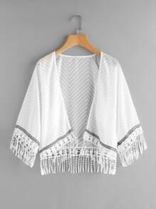 Crochet Fringe Hem Embroidered Tape Detail Kimono