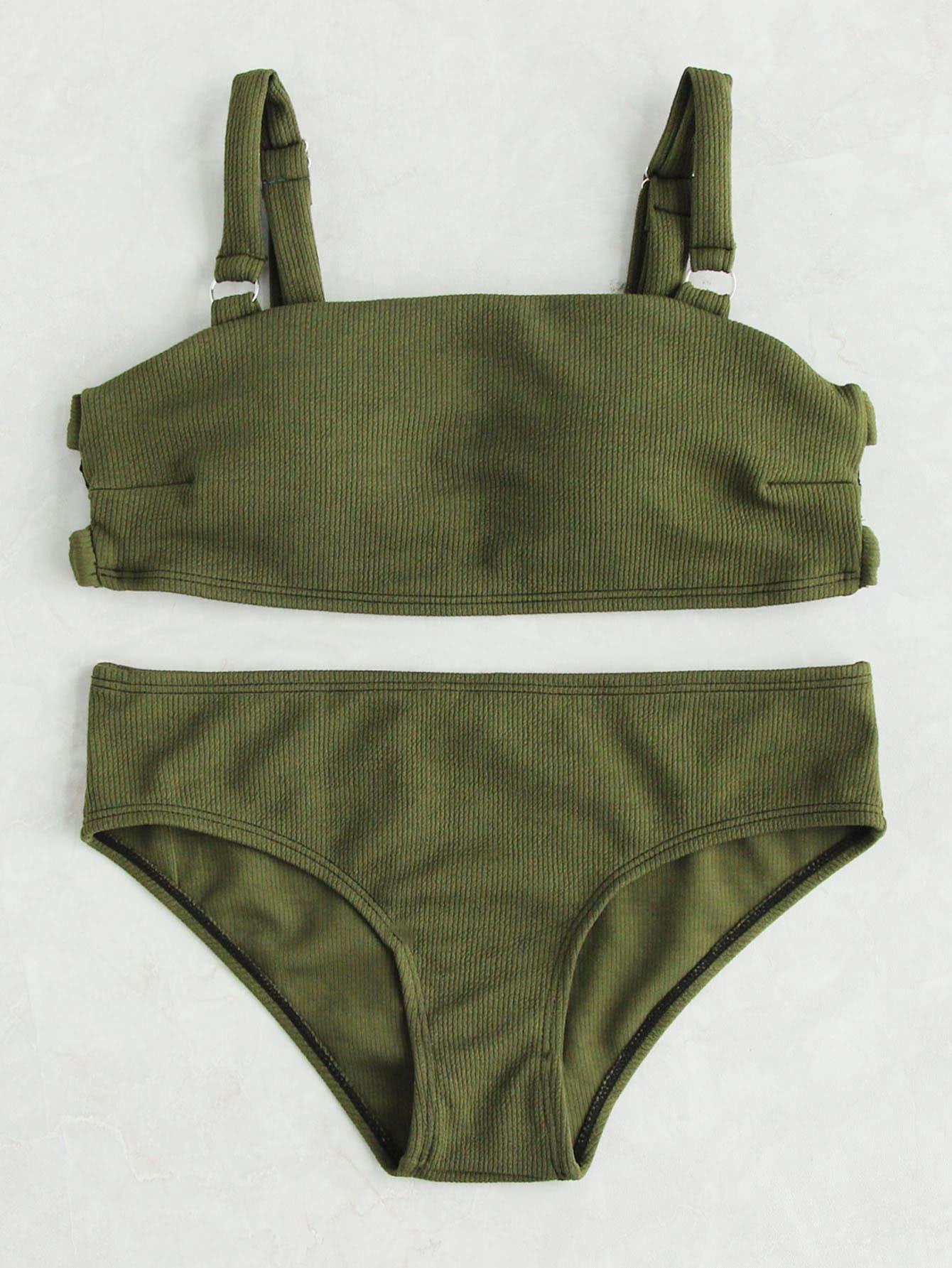Фото Army Green Ribbed Cut Out Bikini Set. Купить с доставкой