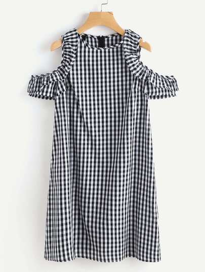 Gingham Open Shoulder Frill Trim Dress