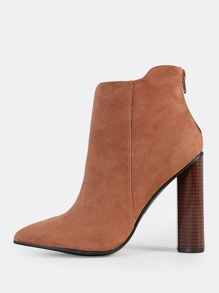 Point Toe Suede Booties CINNAMON
