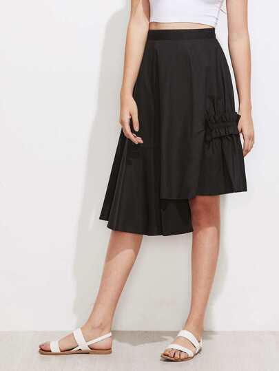 Shirred Ruffle Detail Staggered Hem  Skirt