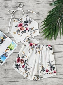 Floral Print Bow Tie Open Back Top With Shorts