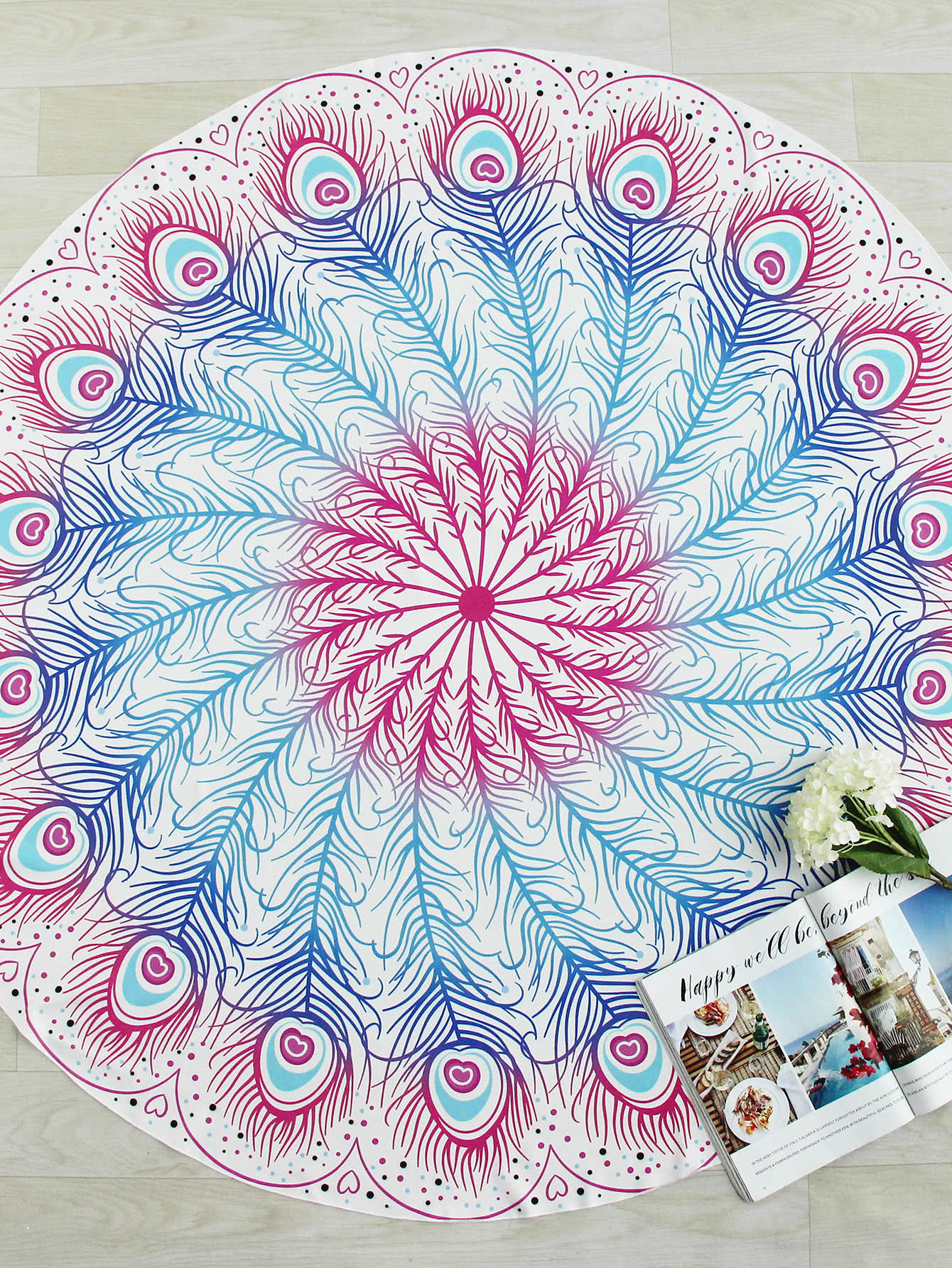 Ombre Feather Print Round Beach Blanket watermelon print round beach blanket