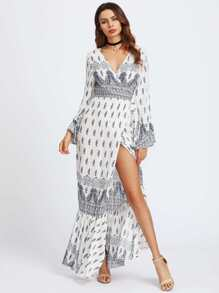 Ornate Print Flute Sleeve Fishtail Hem Wrap Dress