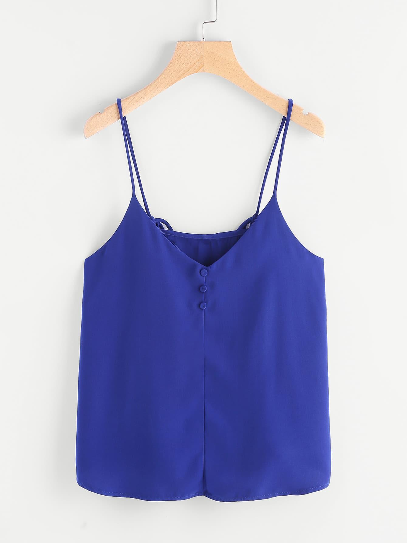 Buttoned Front Crisscross Cami Top vest170404451