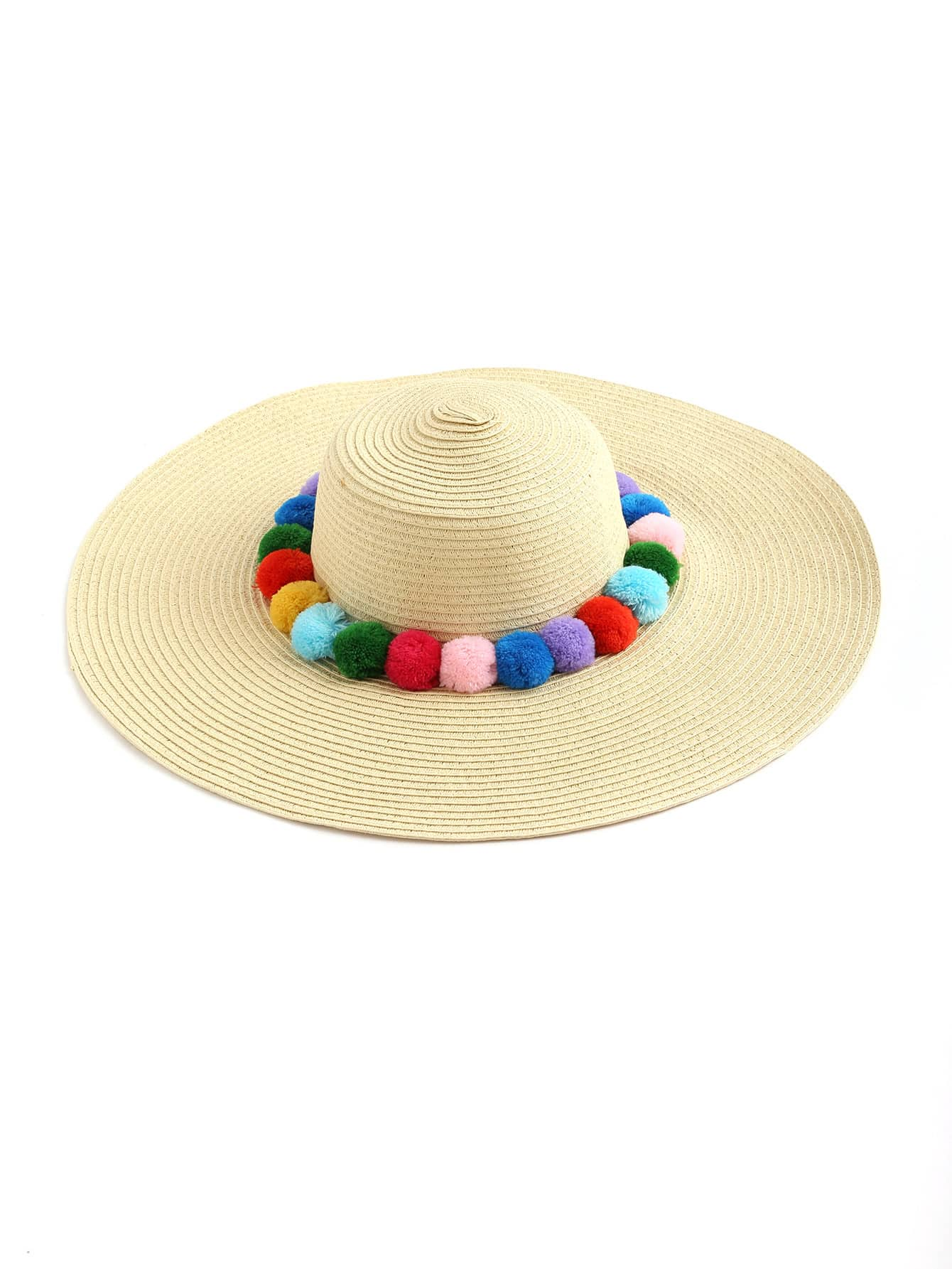 Pom Pom Embellished Floppy Hat