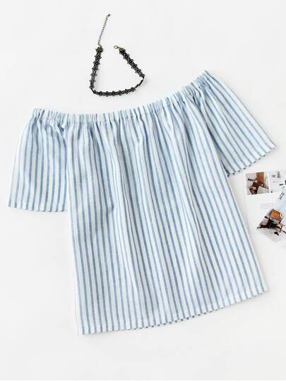 Off Shoulder Vertical Striped Top