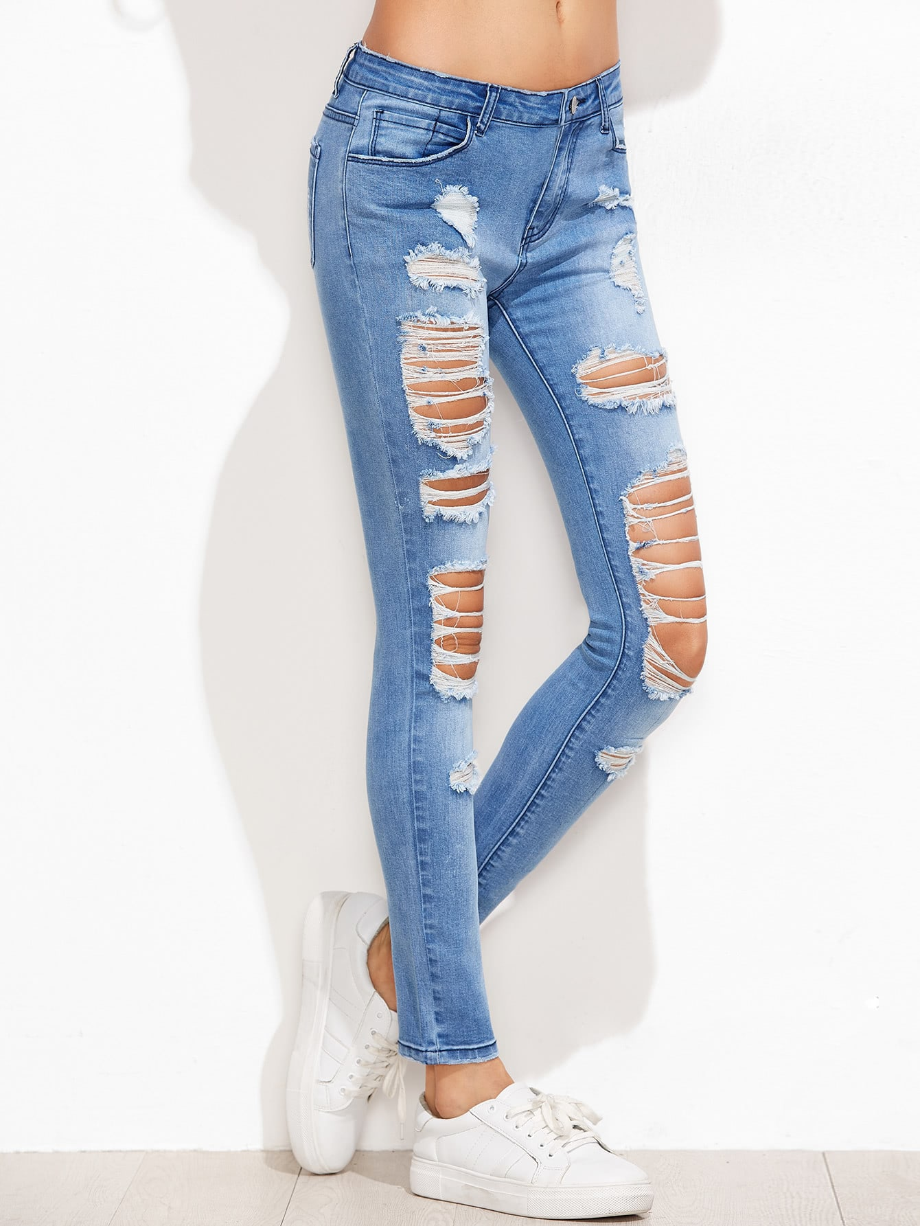 Bleached Distressed Skinny Jeans embroidered distressed skinny jeans