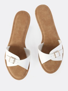 Buckle Slip On Sandals WHITE