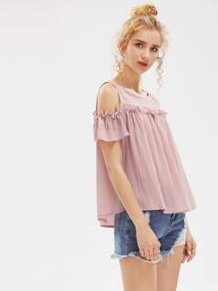 Open Shoulder Frill Detail Crinkle Top
