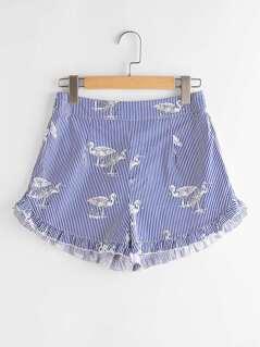 Ruffle Trim Bird Print Striped Shorts