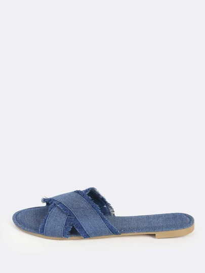 Frayed Denim Slip Ons BLUE DENIM