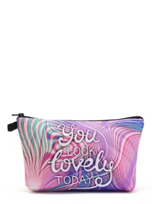 Slogan Print Cosmetic Bag