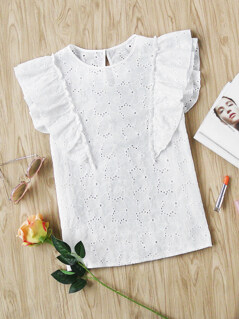 Buttoned Keyhole Flutter Sleeve Eyelet Embroidered Top