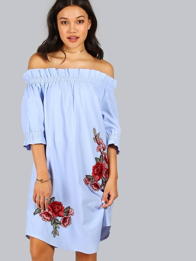 Off Shoulder Rose Patch Detail Dress