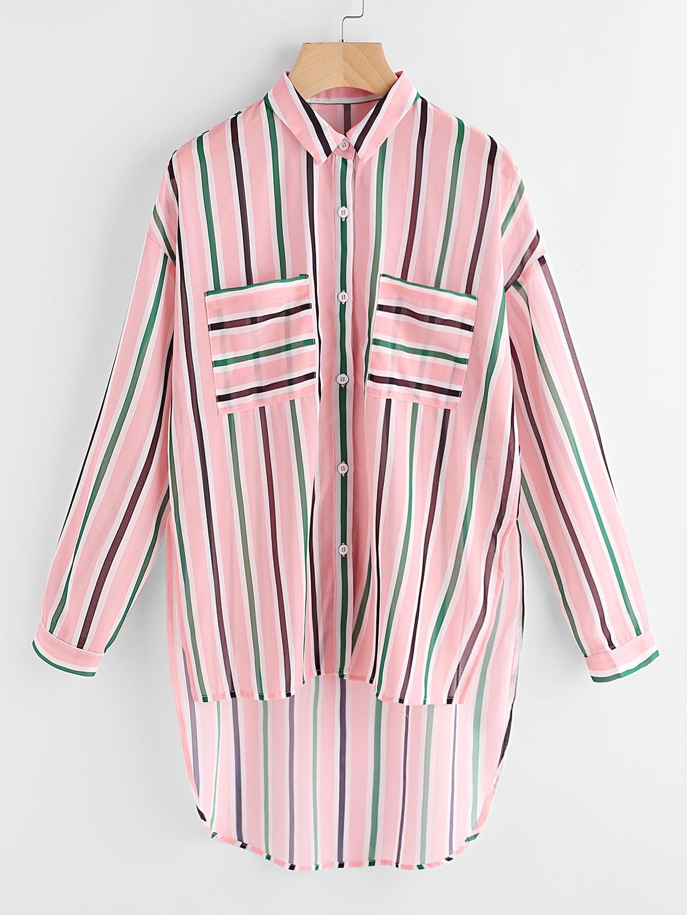 Фото Patch Pocket Front Stepped Hem Striped Shirt. Купить с доставкой