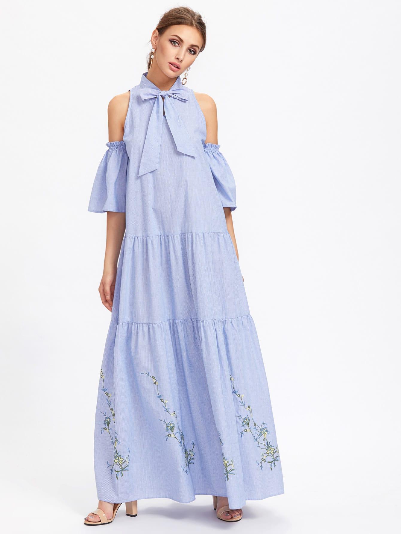 Фото Bow Front Open Shoulder Bell Sleeve Tiered Dress. Купить с доставкой