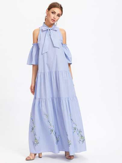 Bow Front Open Shoulder Bell Sleeve Tiered Dress