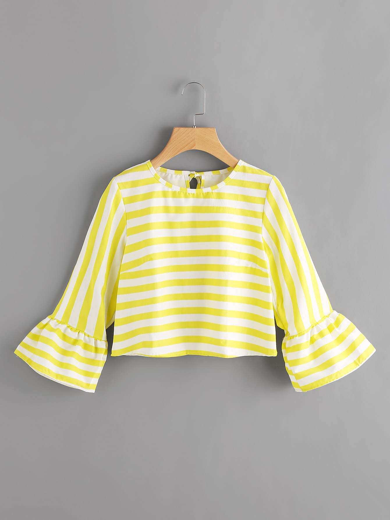 Contrast Striped Flute Sleeve Split Back Tie Detail Blouse