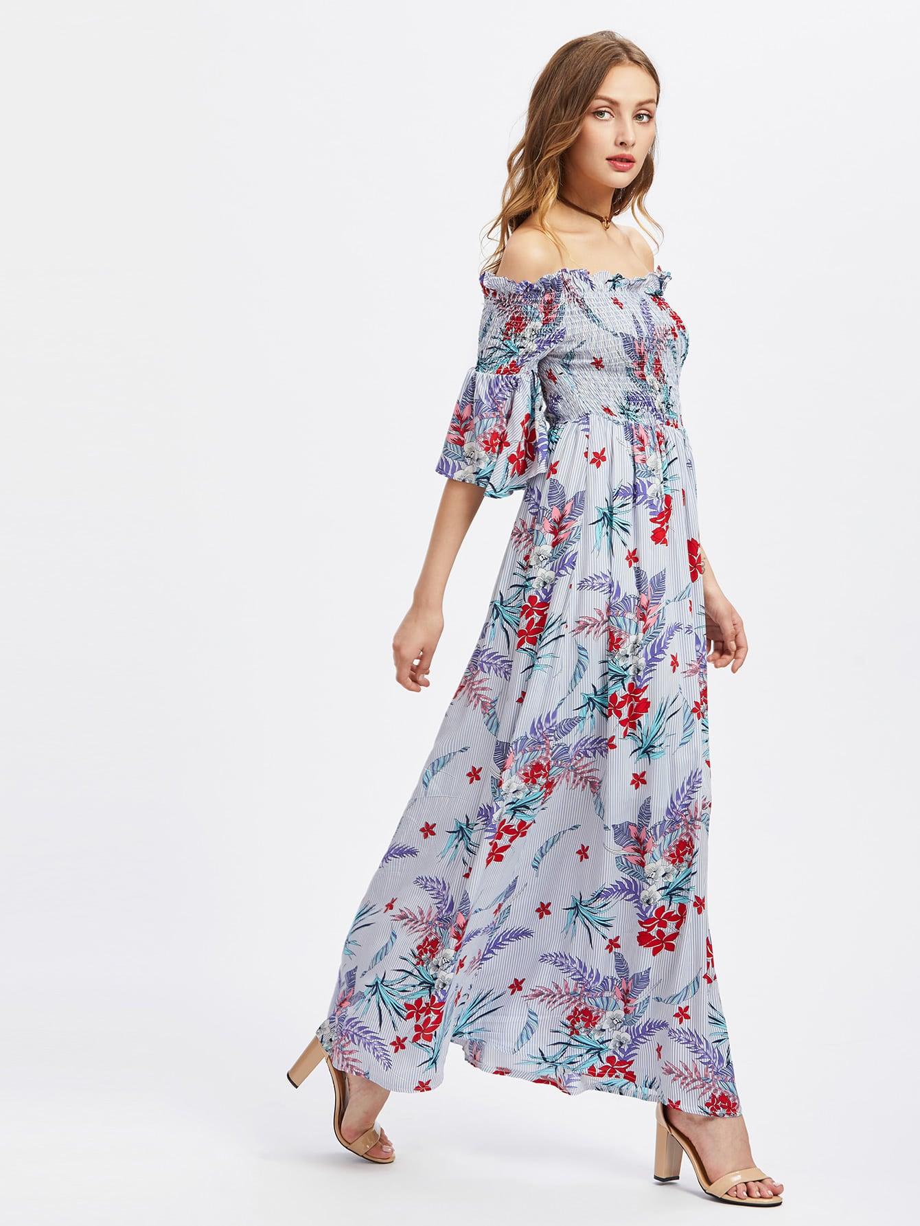 Фото Smocked Bodice Trumpet Sleeve Tropical Bardot Dress. Купить с доставкой