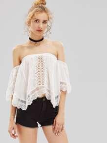 Hollow Out Crochet Insert Bardot Top