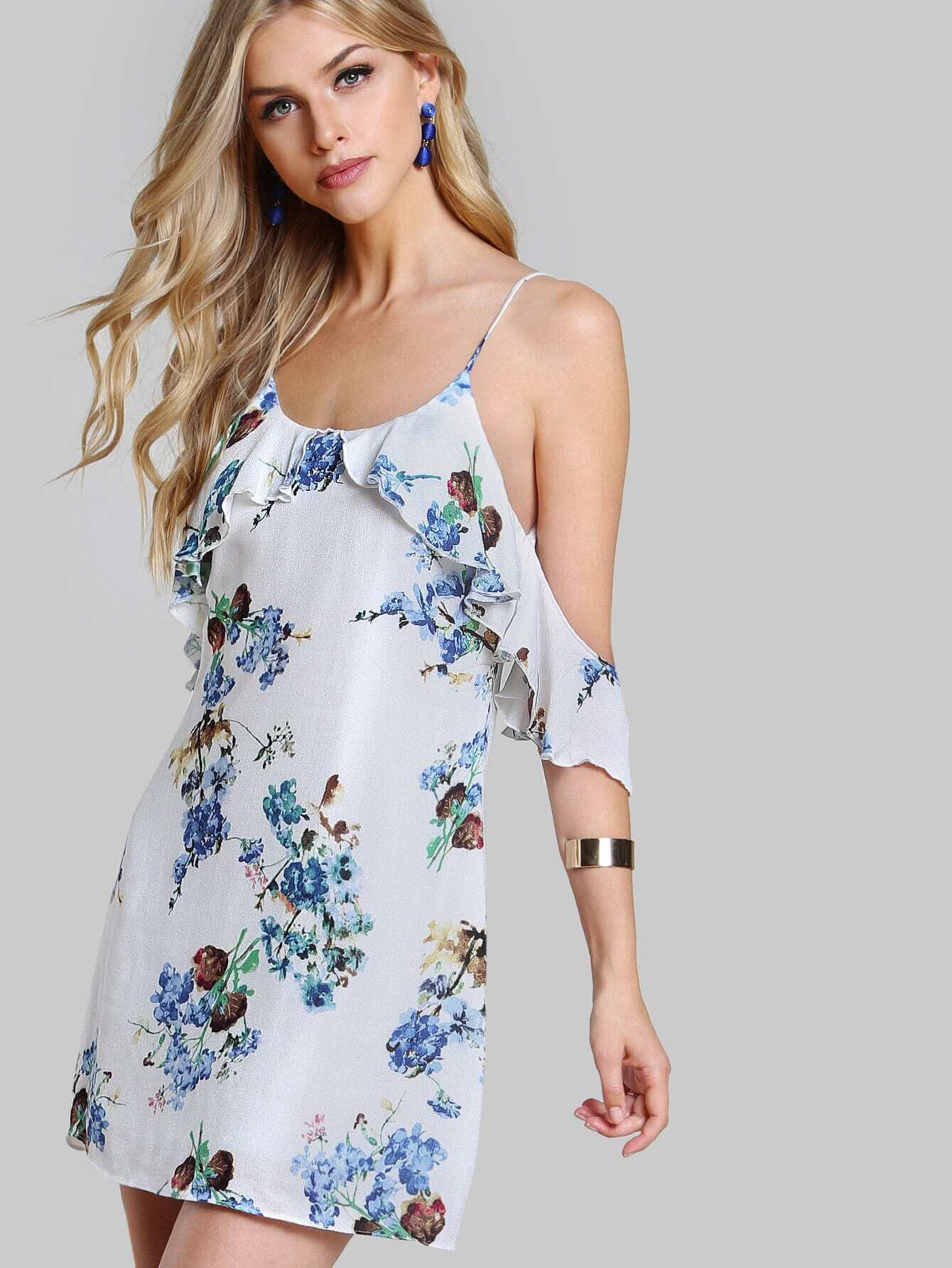 Frilled cold shoulder low back floral dress shein sheinside - Shein damenmode ...