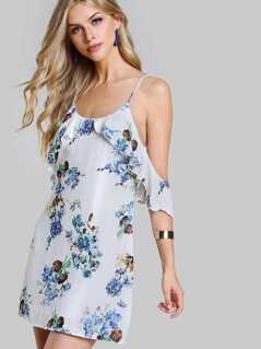 Frilled Cold Shoulder Low Back Floral Dress