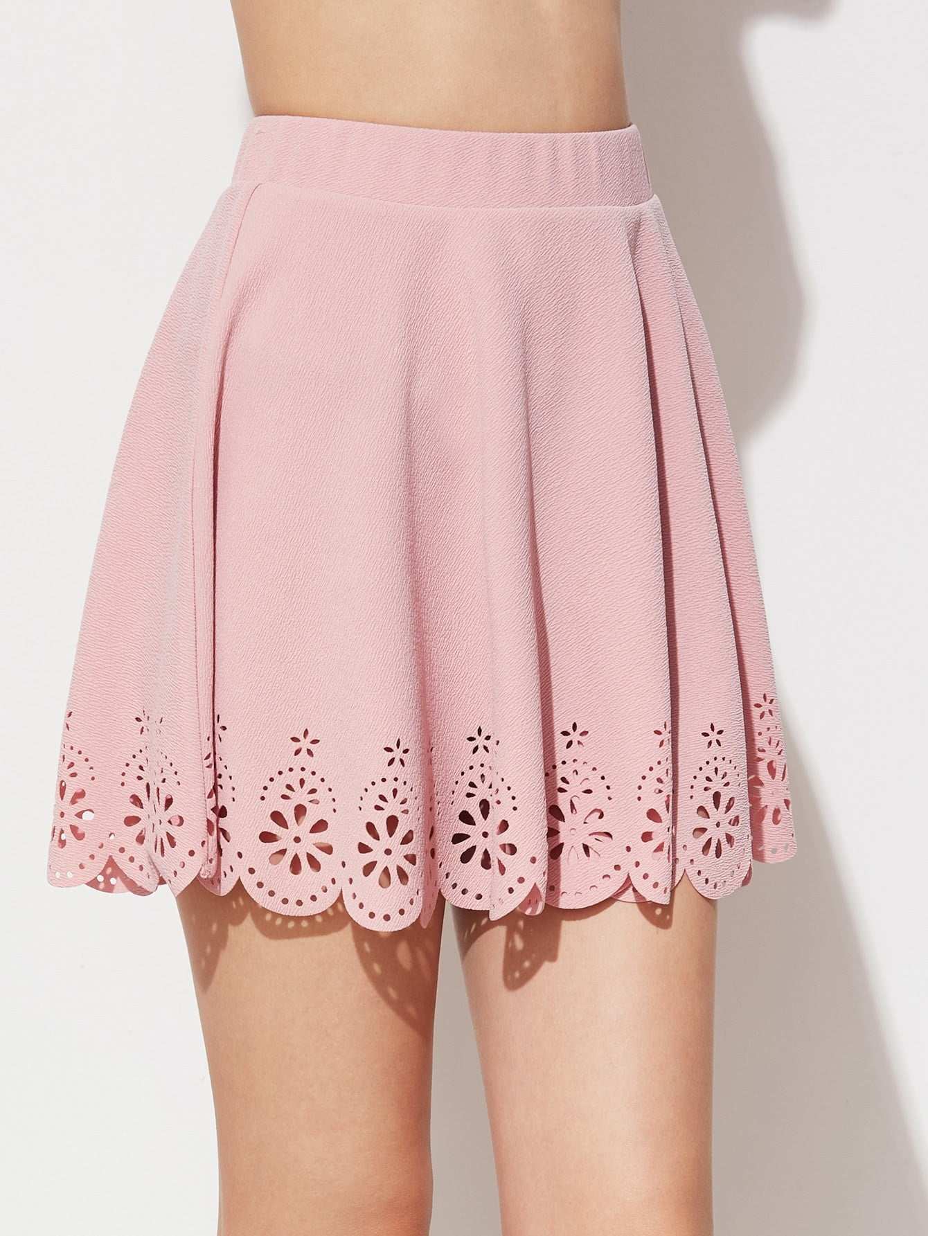 Laser Cut Scallop Hem Textured Skirt ruffle waist zip back scallop hem embroidered gingham skirt