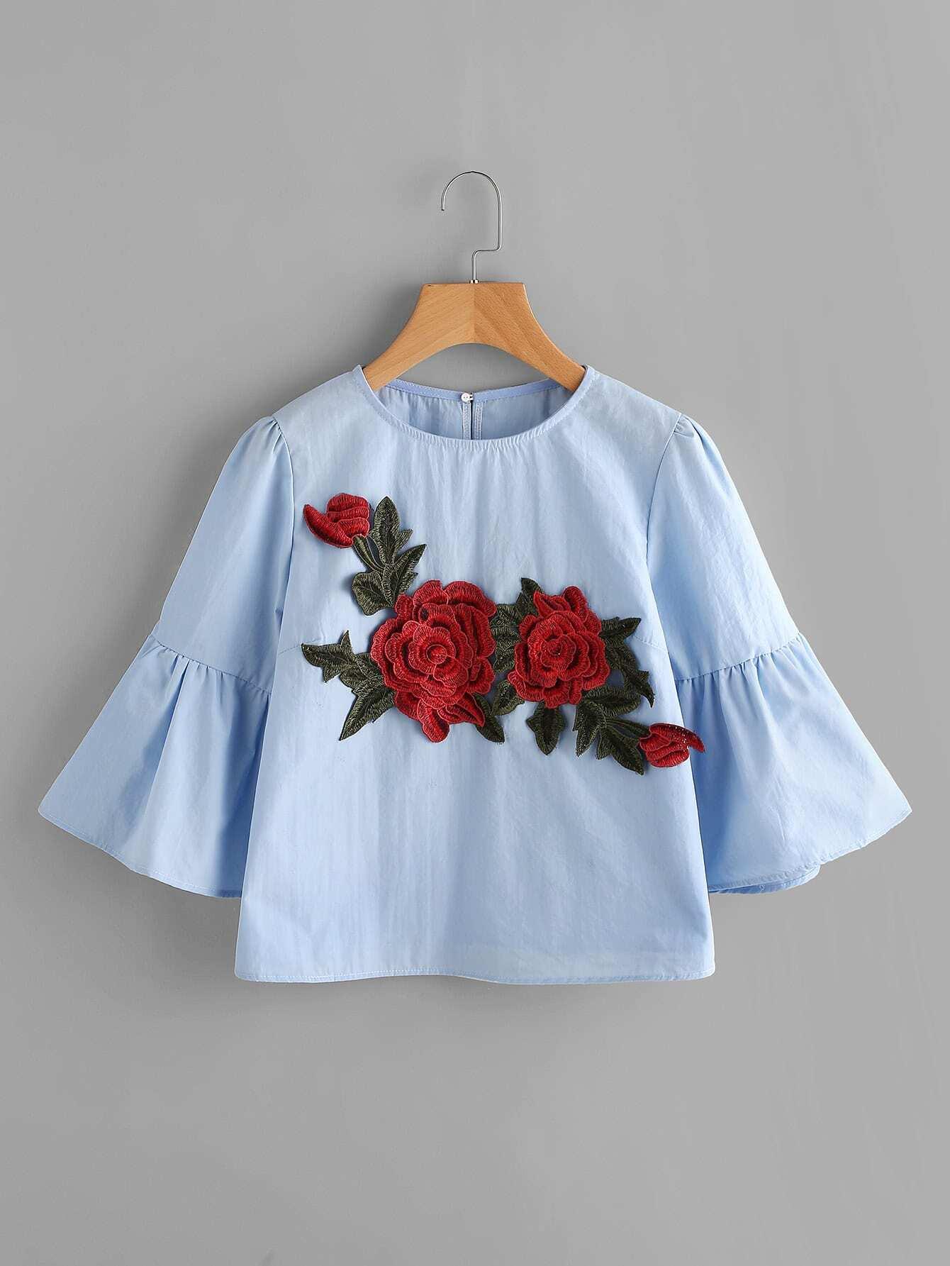 Фото Embroidered Applique Flute Sleeve Blouse. Купить с доставкой