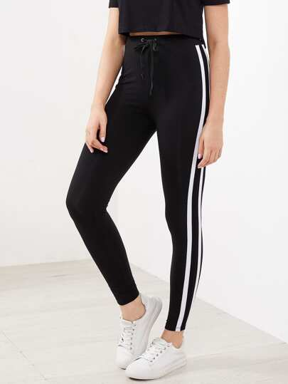 Drawstring Waist Side Striped Leggings