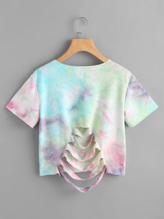 Slashed Back Pastel Tie Dye Tee