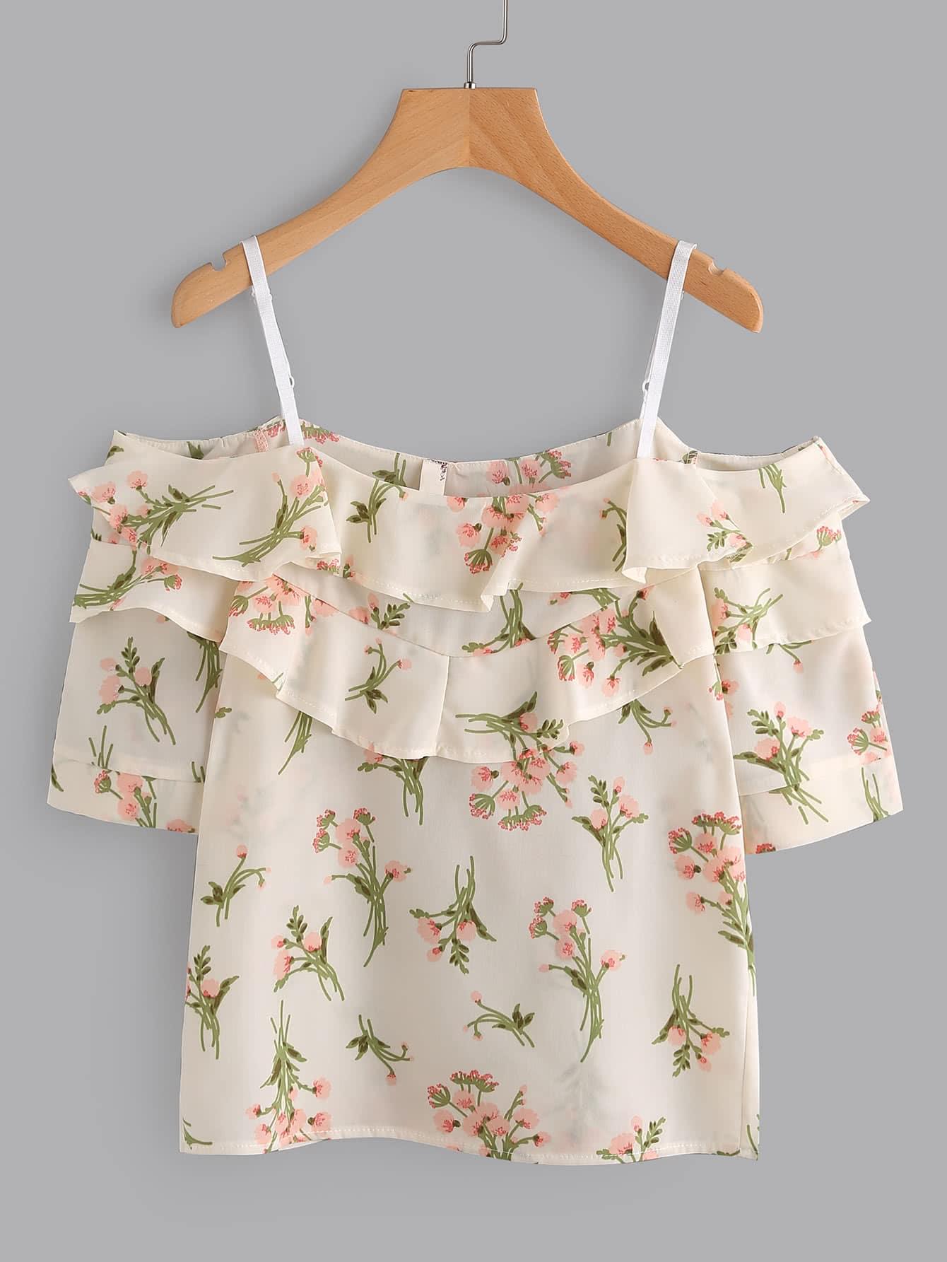 Фото Open Shoulder Tiered Floral Print Random Blouse. Купить с доставкой