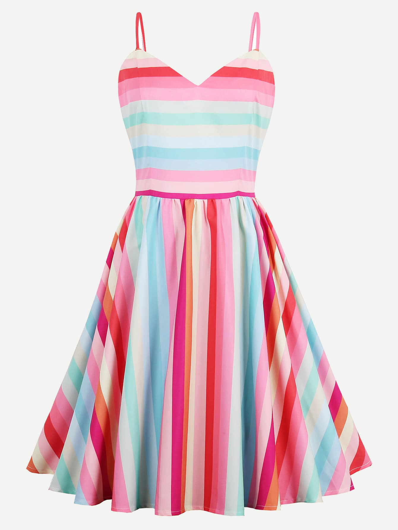 Rainbow Stripe Adjustable Straps Fit & Flare Dress