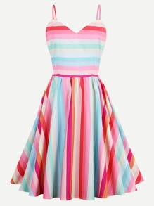 Rainbow Stripe Adjustable Straps Fit & Flare Dress