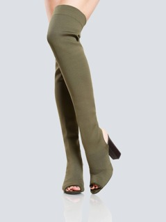 Peep Toe Stretch Knit Thigh Highs OLIVE
