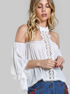 Lace Panel Halter Off Shoulder Flowy Top