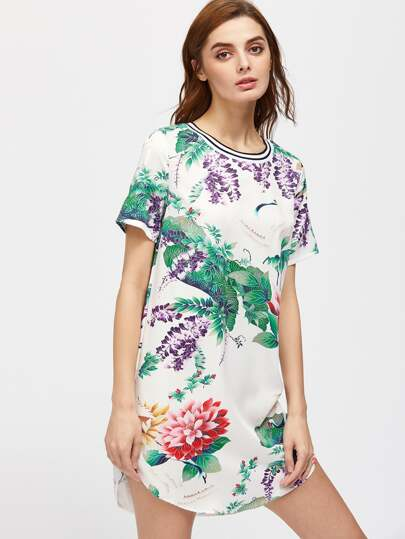 Random Botanical Cranes Printed Stripes Curved Hem Dress