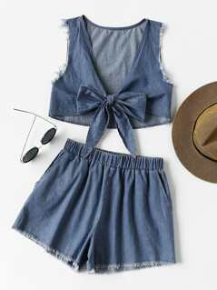 Plunging Bow Front Frayed Chambray Top And Shorts Co-Ord