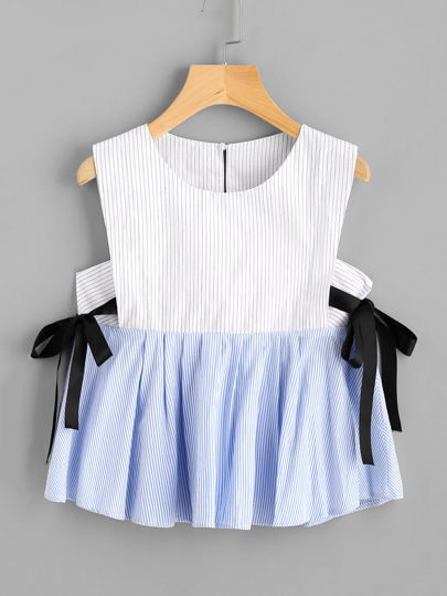 Pinstriped Top With Ribbon Bow Tie Detail