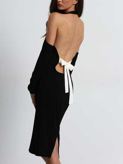 Open Shoulder Backless Bow Halter Dress