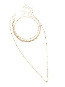 Rhinestone Decorated Geometric Choker With Beaded Necklace